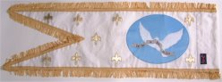 Hand embroidered medieval religious banner - back